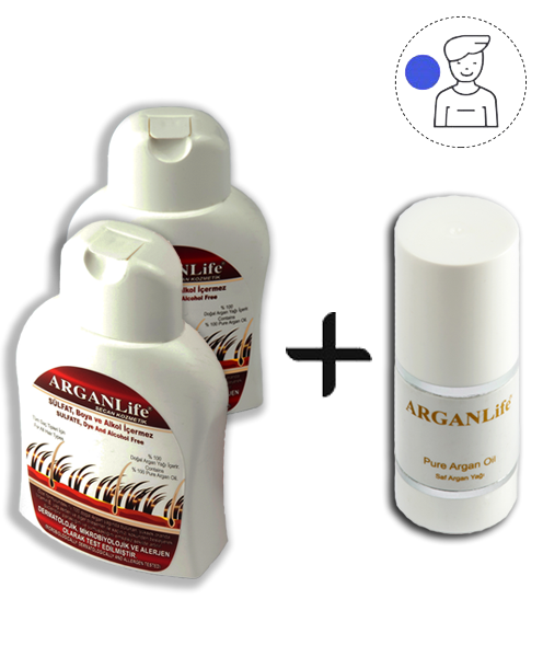 2 BOTTLES OF 250ML ARGANLIfe HAIR SHAMPOO AND 50ML ULTRA NOURISHING OIL TREATMENT - For Men